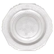 Set of 5 Clear Depression Glass Floral Dinner Plates