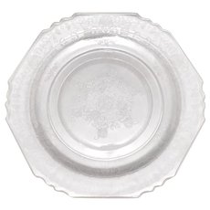 Set of 5 Clear Depression Glass Floral Dinner Plates