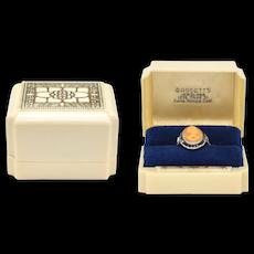 Warner Signed Art Deco Cream Celluloid & Royal Blue Velvet Cushion Ring Box