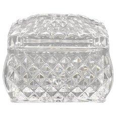 Small Diamond Point Cut Lead Crystal Glass Rectangular Trinket Box w/ Lid