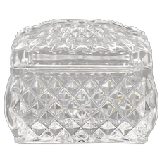 Small Diamond Point Cut Lead Crystal Glass Rectangular Trinket Box w/ Lid