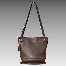 Authentic Coach Designer Chocolate Brown Leather Crossbody Bucket Bag Purse Handbag