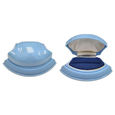 Art Deco Blue Celluloid Clam Shell Ring Box