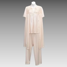 Vanity Fair 3-Pc English Rose Blush Pink Pleated Nylon & Lace Accent Pajamas & Robe Set