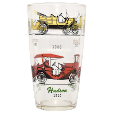 Hazel Atlas Bar Glass Shaker c1900s Style Cars Studebaker, Stutz, Ford, Chevy, Hudson - 2 Available