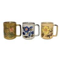 C1960s Set of 3 Hand-painted Flower Stoneware Mug