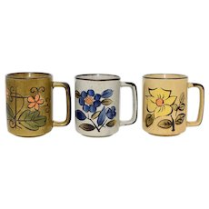 C1960s Set of 3 Hand-painted Flower Stoneware Mug