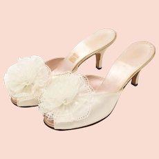 c1950s Daniel Green Ivory White Satin & Tulle Rosette Peep-toe Pom Pom Boudoir Heel Slipper