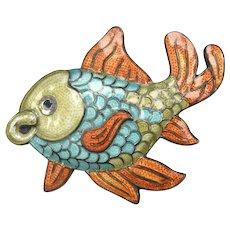 c1948 Margot de Taxco Sterling Silver Champleve Enamel Blue, Orange, Green Fish Brooch/Pin