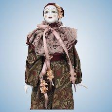 "French Porcelain 16"" Pierrot Jester Harlequin Clown Doll in Original Box"