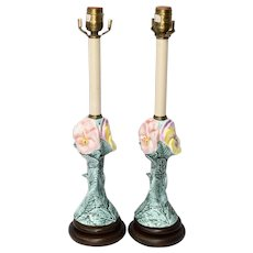Pair of Figural Pansy Flower Majolica Pottery Painted Ceramic Table Lamps