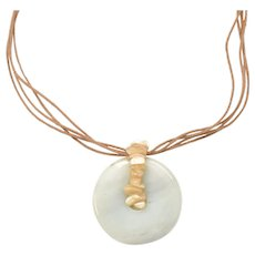 Pale Green Jade Disc Pendant Multi-Strand Tan Leather Necklace