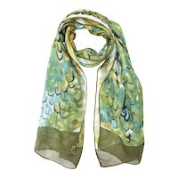 Signed Echo Japan Made Peacock Pattern Deep Green All Silk Hand Rolled Women's Scarf