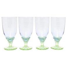 Set of 4 Large Purple & Green Art Glass Pedestal Water Goblets
