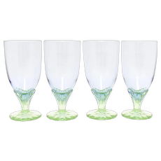 Set of 4 Large Purple & Green Art Glass Pedestal Water Goblets