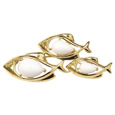 Signed Trifari School of Fish White Lucite Jelly Belly Gold-tone Brooch/Pin