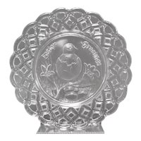 "c1880s Victorian Era ""Easter Greeting"" Embossed Chick & Egg Pressed Glass Openwork Lace Edge Plate"""