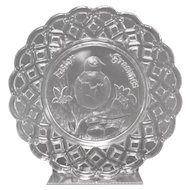 """c1880s Victorian Era """"Easter Greeting"""" Embossed Chick & Egg Pressed Glass Openwork Lace Edge Plate"""""""