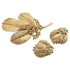 "Signed ""Trifiari"" Demi-Parure Gold Leaf Pin/Brooch & Clip-on Earring Set"