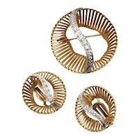 Gold Plated Circular Demi-Parure Silver Rhinestone S Center Pin/Brooch & Earring Set