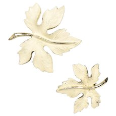 2-Pc Enameled Gold-tone Maple Leaf Pin/Brooch Set