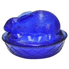 Cobalt Blue Glass Easter Bunny & Eggs Dish w/ Original Lid ~ Perfect for Easter!