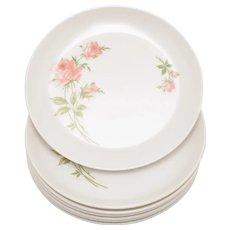 "Set of 7 Mid-Century Sun Valley Pink Rose Flower Melmac Melamine 6 "" Dessert or Salad Plates"