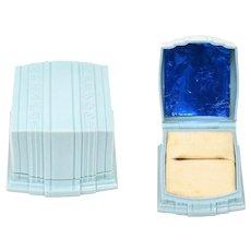 Warner Signed Art Deco Light Blue Celluloid Square Ring Box