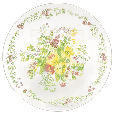 c1950s 2-Pc Painted Glass Springtime Garden Flowers Dessert or Salad Plates