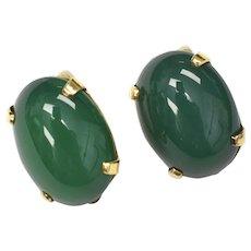 Artisan Signed 10K Gold Apple Green Chrysoprase Cabochon Clip Earrings