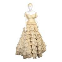 c1953 Dorothy Davis Design Ruffled 10-Layer Ecru Embroidered Eyelet Lace Fabric Wedding Dress / Gown