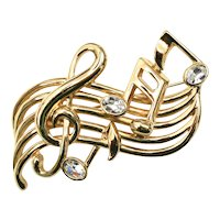 Large Rhinestone Music Stave or Staff & Notes Goldtone Brooch/Pin