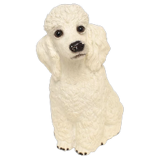 "c1984 Universal Statuary Corp. 12"" Large White Pet Poodle Chalkware Plaster Statue Sculpture"