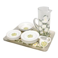 16-Pc Summertime Staffordshire England Yellow Spring Daisy Saucers, Salad Plates, Soup Bowls, Cup & Creamer