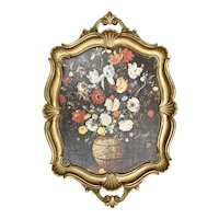 Italy Made Florentine Rococo Style Shell, Acanthus Leaf & Flower Bouquet Gold Gilt Wood Tray