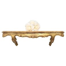 "Florentia Handcrafted 19"" Long Florentine Italy Made Ornate Gold Gilt Carved Wood Shelf"