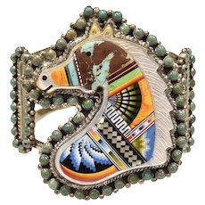 Spectacular & Rare Sterling Silver Figural Horse w/ Turquoise, Black Onyx, Mother of Pearl, Lapis, Spiny Oyster Inlay Cuff Bracelet