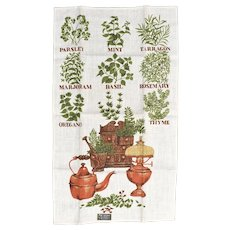 New Old Stock Stevens 'All Linen' Tea Thyme Herbs Old-Fashioned Kitchen Tea Towel