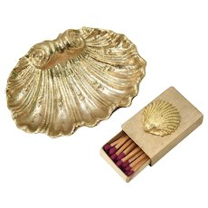 c1950s Hollywood Regency 3-pc Switzerland Made Stylized Oyster Shell Ashtray & Coordinating Match Box/Match Set