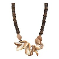 """Chunky Sundial Sea Shell & Natural Wood Disc Bead Accent 17"""" Long Necklace"""