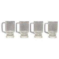 "Set of 4 Indiana Glass Crystal Ice Textured ""Tree Bark"" Tankard Mugs"