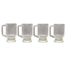 "Set of 4 Indiana Glass Crystal Ice Textured ""Tree Bark"" Tankard Mugs"
