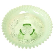 Early 1900s Northwood Leaf & Bead Opalescent Ruffled Green Footed Glass Compote