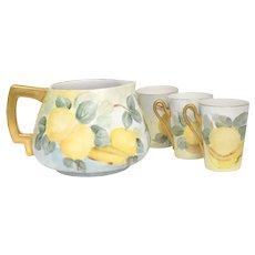 c1925 Artisan Signed J. Poorman 5-Pc Count Handpainted Porcelain Lemonade Pitcher & Cup Set - Czechoslovakia