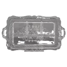 Cambridge Glass Gardoon Etched Floral Pattern 4 Part Relish Tray/Dish w/ Handles
