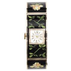 Rivo 17 Jewels Swiss Made Handpainted Flower & Greenery Black Enamel Cuff Wrist Watch
