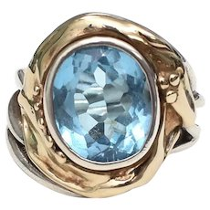 861eb1c8f 14k Gold & Sterling Silver Large Blue Topaz Two Tone Ring - Size 6.25