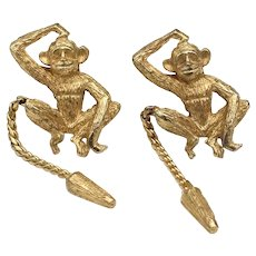 Ballou Small Monkey Scratching Head Gold-tone w/ Chain Tail Lapel/Scatter Pins