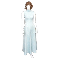 c1960s Powder Blue Rose Flower Textured Fabric Mock Turtleneck Sleeveless Maxi Dress