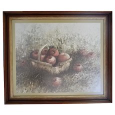 c1970 Apple Plenty by Hubert Shuptrine Still Life Art Print in Professional Wood Frame